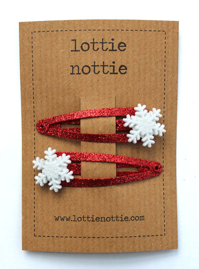 Sparkly Red Snowflake Clips