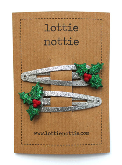 Sparkly Silver Holly Clips