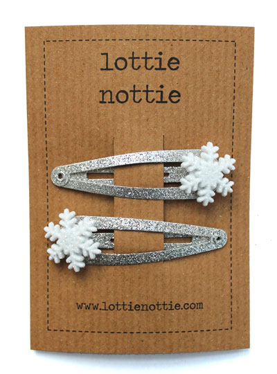 Sparkly Silver Snow Clips