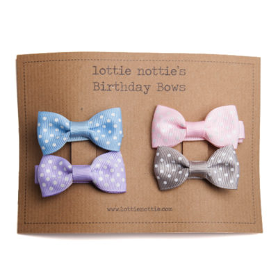 Birthday Bows Swiss Dots Pastel Coloured Selection.