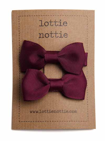 Burgundy Small Bow Hair Clips
