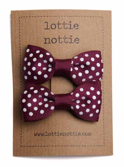 Burgundy Swiss Dot Small Bow Hair Clips