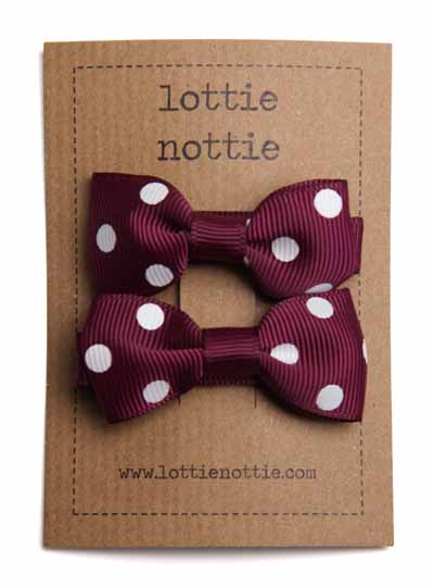 Burgundy and White Polka Dot Small Bow Hair Clips