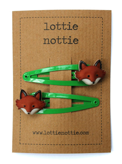 fox on green hair clips