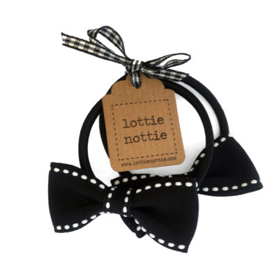 Black and White Stitch Small Bow Hair Bands