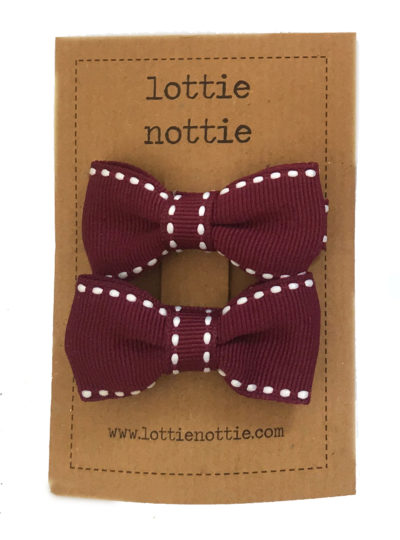 Burgundy Stitch Small Bows