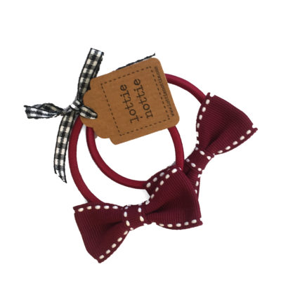 Dark Burgundy Red Stitch Bow Hair Bands