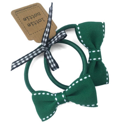 Green and White Stitch Small Bows