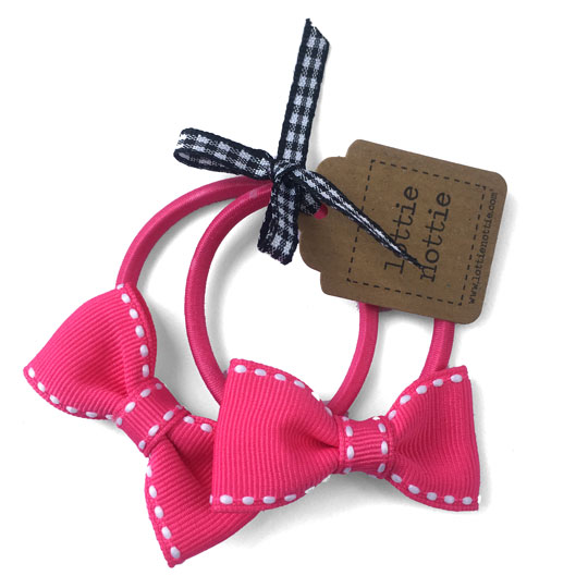 dfb8c91d96698 Bright Pink with White Stitch Bow Hair Bands (Pair)