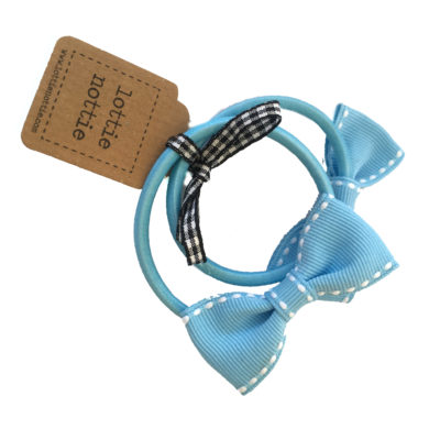 Light Blue Stitch Bow Hair Bands