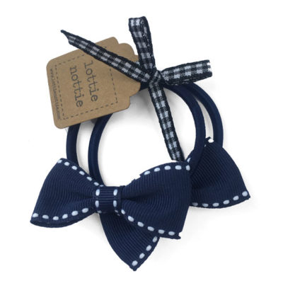 Navy and White Stitch Small Bows